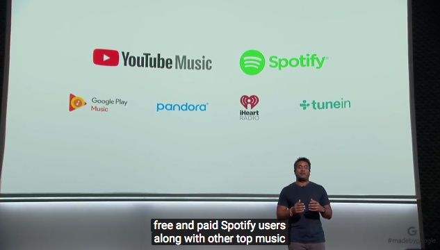 services google home max : youtube music, spotify, pandora, tuniin