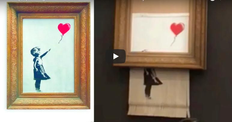 Etapes de la création du tableau La fille au Ballon de Banksi Etape 1 : Prendre le poster de Banksy et la mettre dans la fente du destructeur de document Etape 2 : Déclencher le destructeur de document et s'arrêter à 50% du poster. Etape 3 : Mettre le poster à la moitié du tableau. Etape 4 : Mettre l'oeuvre dans son salon, sa chambre ou aller la vendre aux enchères
