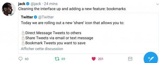 Twitter ajoute une fonction signet #bookmark #socialmedia #twitter
